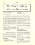 Touro College Libraries Newsletter Vol. II No. 1