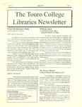 Touro College Libraries Newsletter Vol. II No. 1