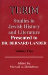TURIM: Studies in Jewish History and Literature: Presented to Dr. Bernard Lander, Volume One by Michael Shmidman